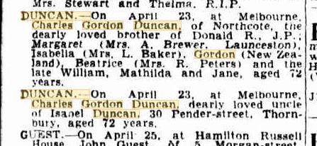 Charles Gordon Duncan death notices