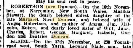 Matilda Robertson (nee Duncan) death notice