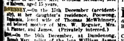 Euphemia McWhinney's death notice