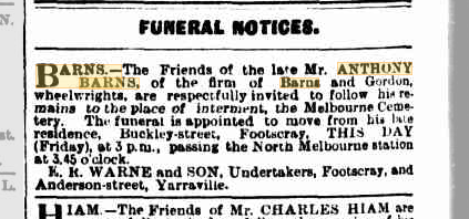 Anthony Barns funeral notice