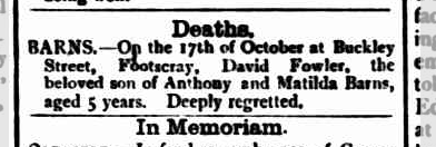 David Fowler Barns death notice