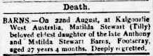 Matilda Barns death notice