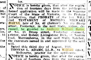 Matilda Barns probate notice