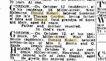 Donald Robert Gordon death notice