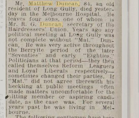 Matthew Duncan obituary