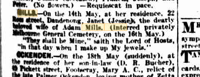 Janet Mills death notice
