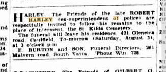 Robert Harley funeral notice