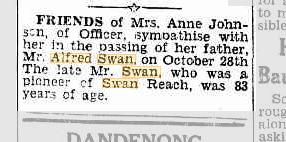 Alfred Swan death notice