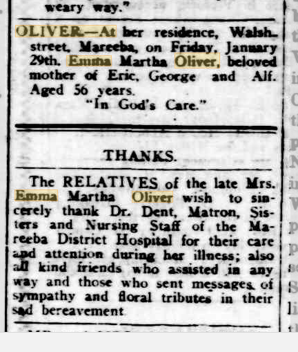 Emma Martha Oliver death notice