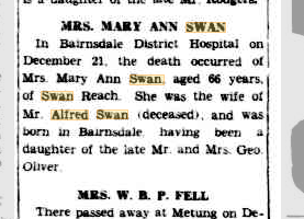 Mary Ann Swan death notice
