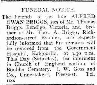 Alfred Owen Briggs funeral notice