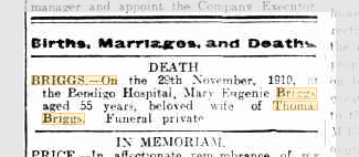 Mary Eugenie Briggs death notice