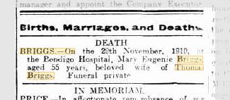 Mary Eugenie Briggs death notice