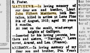 John Hilbert Matthews death notice