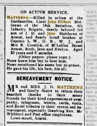 John Hilbert Matthews notices