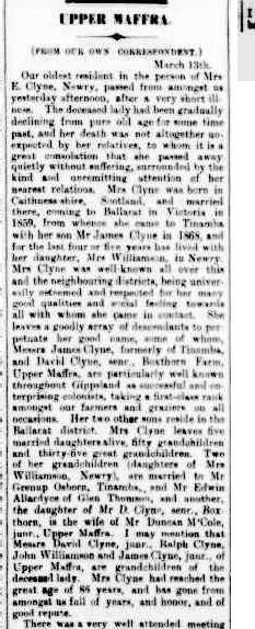 Mrs E Clyne obituary
