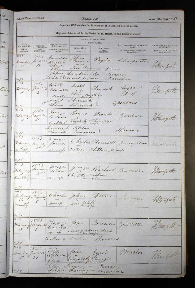 Fanny Prout baptism