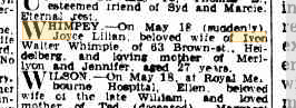 Joyce Lilian Whimpey death notice (Age)