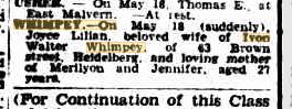 Joyce Lilian Whimpey death notice (Argus)