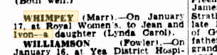 Lynda Whimpey birth notice