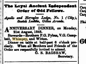 Advertising The Loyal Ancient Independent Order of Odd Fellows
