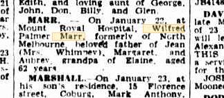 Wilfred Palmer Marr death notice