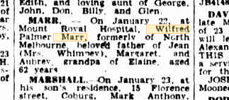 Wilfred Palmer Marr death notice