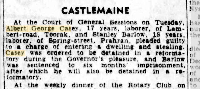 Castlemaine Albert George Casey