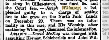 Joseph Whimpey setting fires