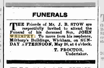 John Whimpey Stow funeral notice