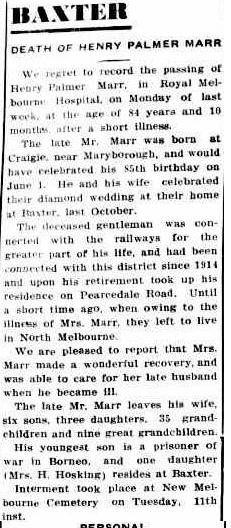 Death of Henry Palmer Marr
