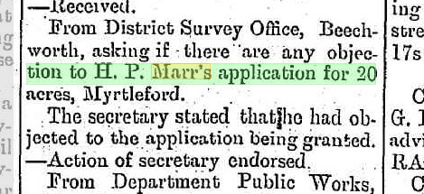 H. P. Marr's application