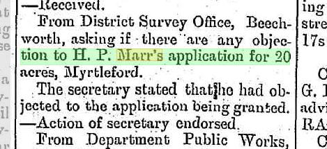 H. P. Marr's application