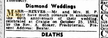 Marr Reeves Diamond Wedding