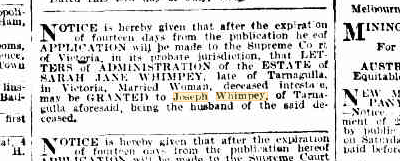 Sarah Jane Whimpey Letters of Administration