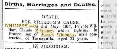 Death William Claude Whimpey