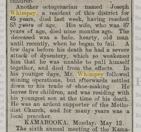 Country News Joseph Whimpey's death