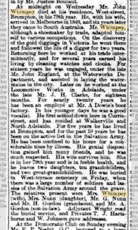 Mr John Whimpey obituary (The Advertiser)