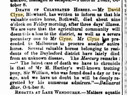 Death of Celebrated Horses