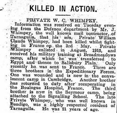 Killed in Action Private W. C. Whimpey