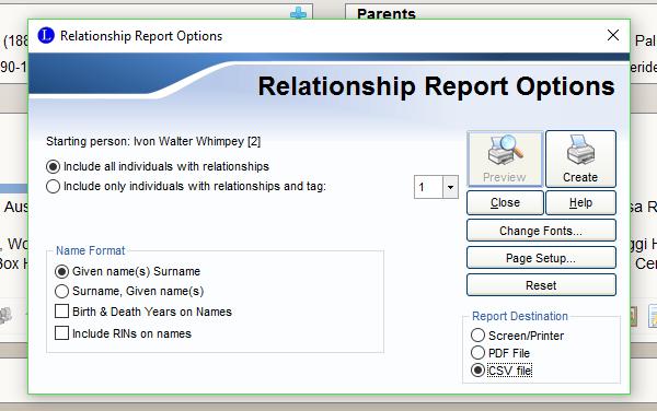 relationship report options