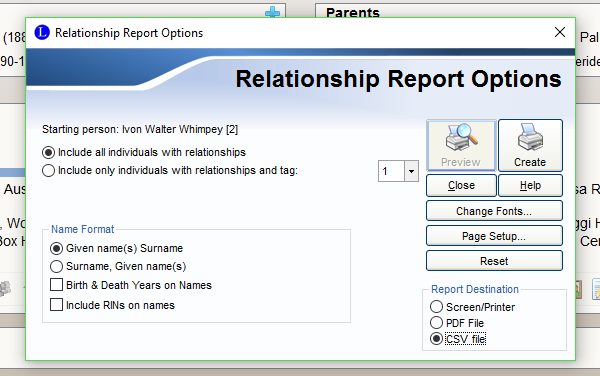 relationship report options