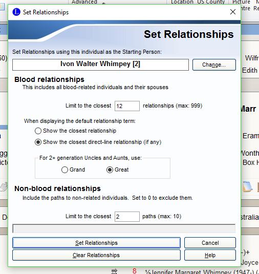 Set relationship options
