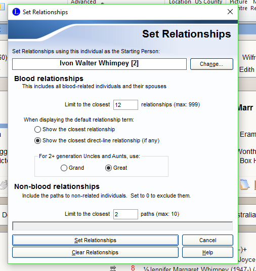 Set relationship options