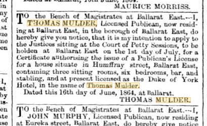 Thomas Mulder Publican's License