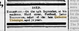 Jacob Theisinger death notice