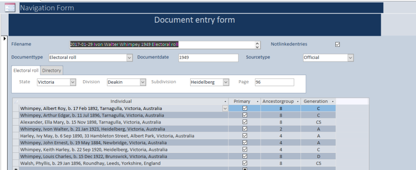 Documents index form