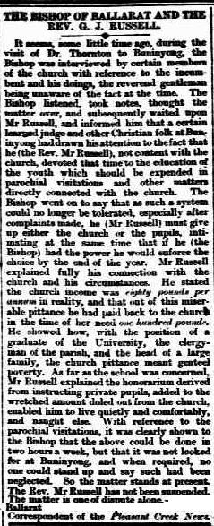 Bishop of Ballarat and the Rev. G. J. Russell