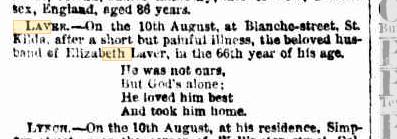 George Laver death notice
