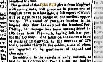 Arrival of the John Bull